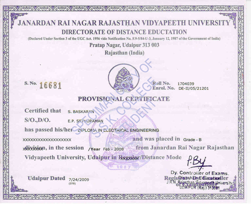 Ssk college rvu distance education b tech distance education download diploma engg degree certificate yadclub Choice Image